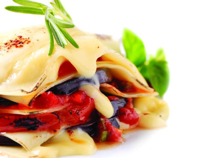 Aubergine and tomato Lasagna