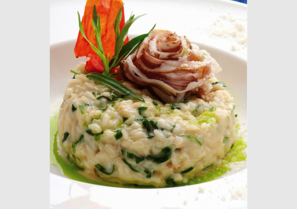Bacon and peas risotto