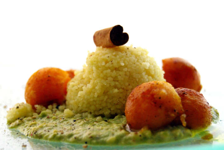 Couscous with peas cream & walnuts