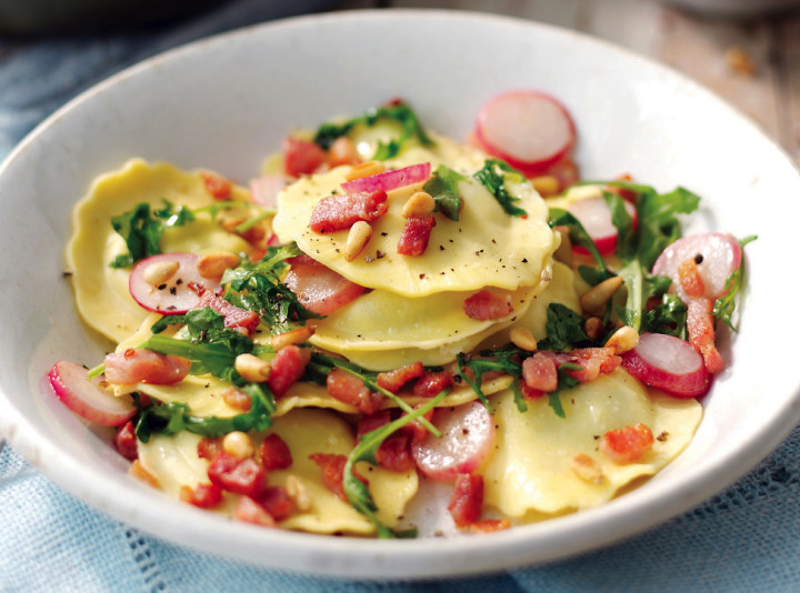 Ricotta, Spinach and Mascarpone Ravioli with Pancetta, Radish & Rocket