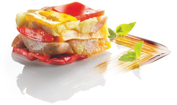 Grilled peppers and potatoes timbale