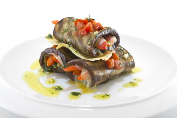 Grilled aubergines & Provolizie rolls