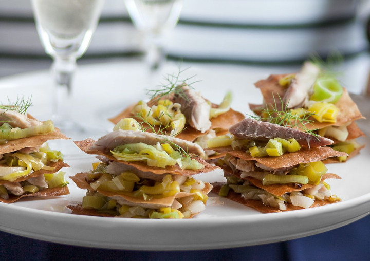 Millefeuille with mackerel and leek