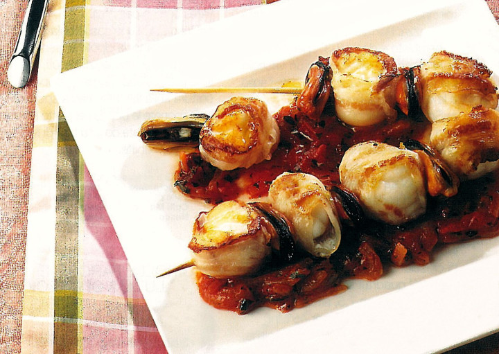 Monkfish skewers