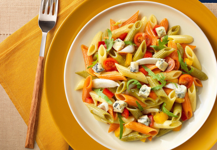 Penne tricolore with summer vegetables & mozzarella