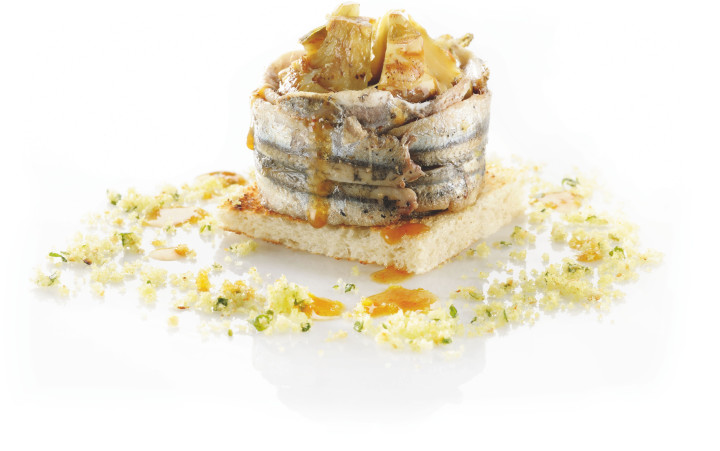 Artichokes, bread and anchovies pie