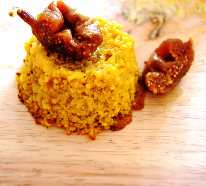 Polenta & honey cakes with dried figs