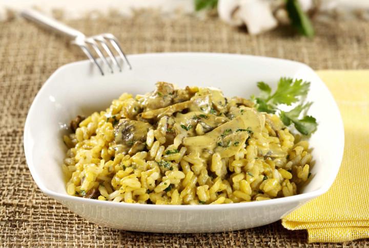 Rice in mushroom cream sauce