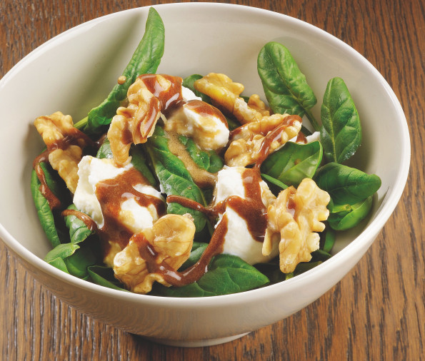 Spinach with nuts, fresh cheese & Balsamic vinaigrette