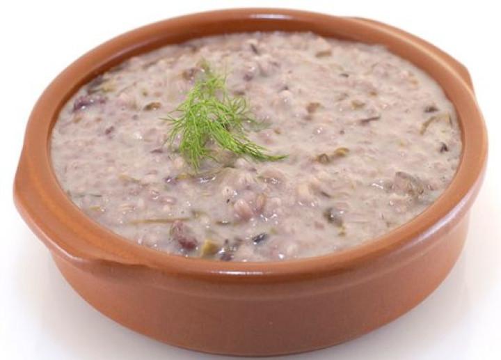 Barley with chicory, sausage & Auricchio
