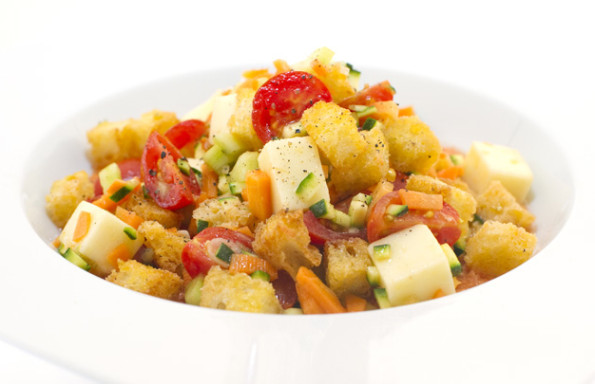 Toasted Panzanella with Auricchio on creamy gazpacho