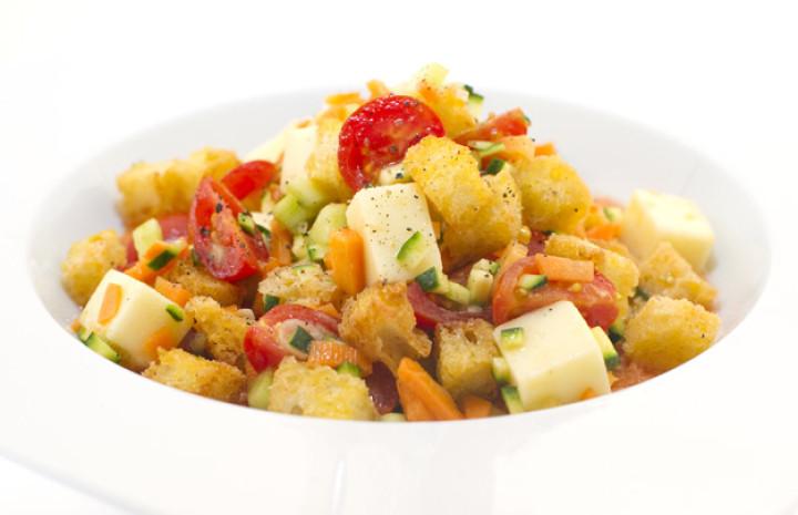 Toasted Panzanella with Auricchio on creamy gazpacho
