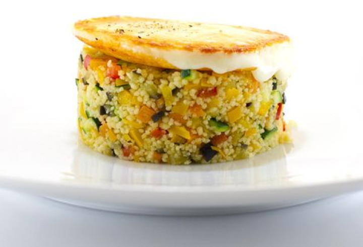 Vegetable cous cous with grilled Provolone