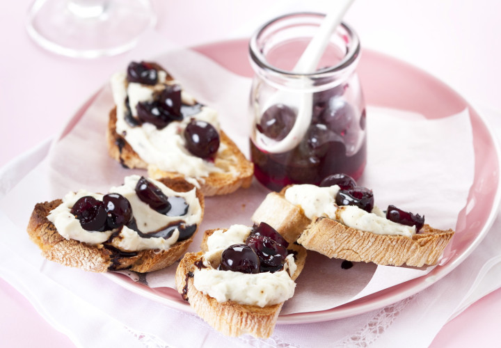 Cheese and Amarena Cherry Tartlets