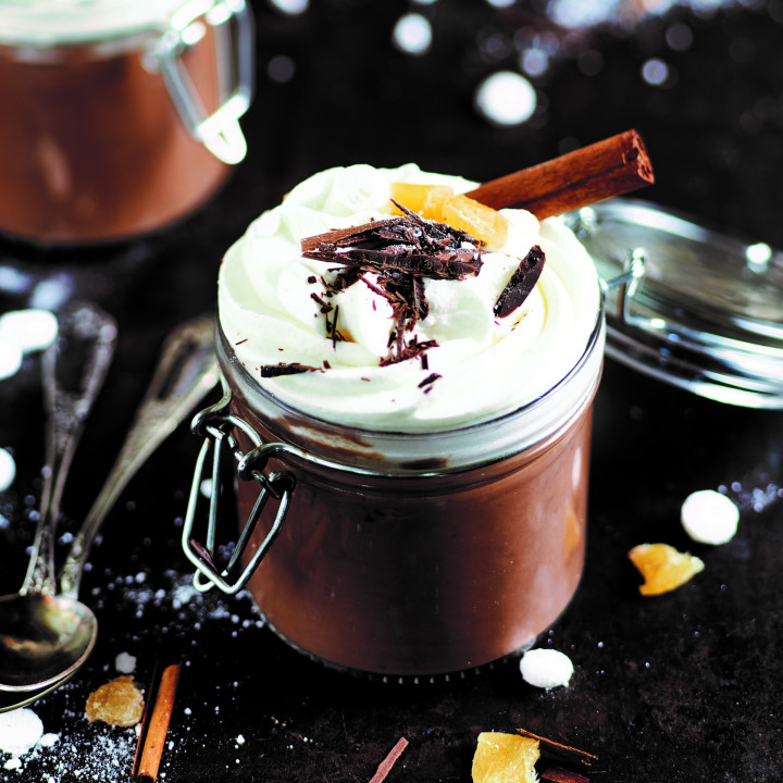 Hot chocolate with spices and whipped cream
