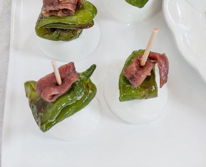 Friggitelli with buffalo-milk mozzarella & anchovies