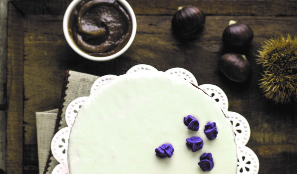Chocolate Cake with Chestnut Flour and Marroni Topping
